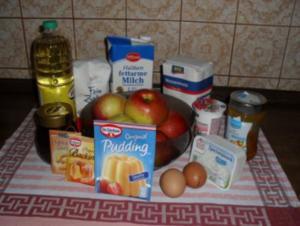 Apfelkuchen mit Sahnepudding - Besuch hat sich angekündigt - Rezept