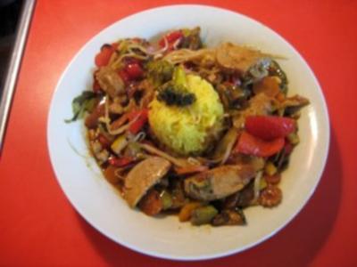 Chinesische Gemüsepfanne mit Lendchen - Rezept