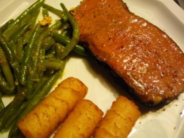 Roastbeef zum Entspannen mit Bohnen und Kroketten - Rezept