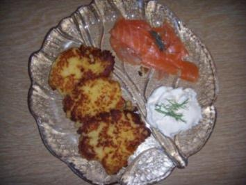 Kartoffeln-Steckrüben-Rösti mit Räucherlachs - Rezept