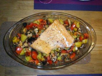 Fisch auf Kartoffel-Tomaten-Pilz-Bett - Rezept