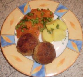 &#9829 Erbsen & Karotten mit Frikadellen &#9829 - Rezept