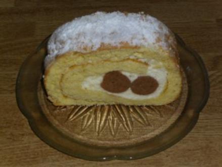 Maroni-Biskuitrolle - Rezept