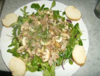 Feldsalat und Rucola treffen Speckschwammerl - Rezept