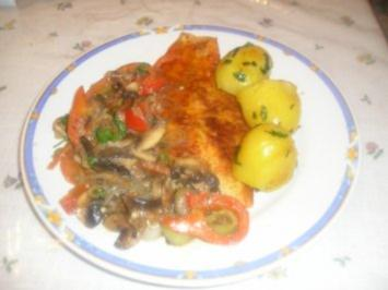 Pangasiusfilet mit Champignon, Paprika, Tomatengemüse - Rezept