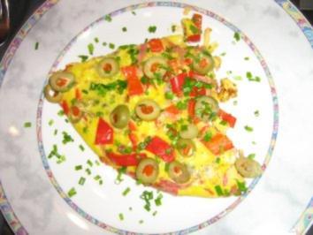Frittata mit Schinkenspeckstreifen Paprika und Oliven - Rezept