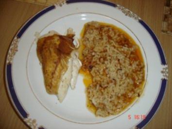 Haehnchen mit Reis im Ofen - Rezept