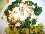 Lammkoteletts auf Spinat mit Feta überbacken - Rezept