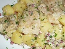Welsfilet auf Schinkenkartoffelgratin - Rezept
