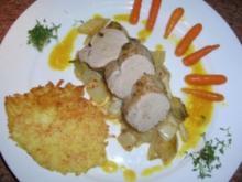 Schweinefilet in Zitronenzesten mit Baby-Möhrchen und Chicorée sowie Parmagiano-Rösti - Rezept