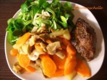 Pfeffersteak vom Rind mit glasiertem Gemüse - Rezept