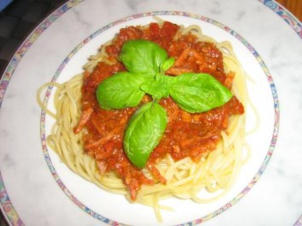 Spaghetti mit Schinken-Bolognese  scharf gewürzt - Rezept - Bild Nr. 5