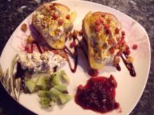 Birnen - pikant gefüllt und im Ofen gebacken; Vorspeise oder pikantes Dessert - Rezept