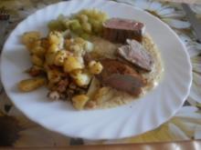 Schweinefilet in Crème-fraîche-Sauce mit Selleriegemüse - Rezept
