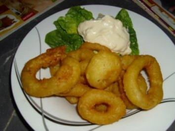 Frittierte Tintenfischringe   -  Mitternachtssnack - Rezept