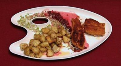Gefüllte Hähnchenbrust mit gebackenen Kartoffeln (Pino Severino) - Rezept