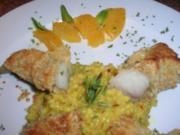 Seeteufelfilet unter der Macadamiakruste mit Orangen-Safran-Perlgraupenrisotto - Rezept