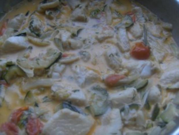 ( Fisch )  Fischpfanne mit einer Gemüse Sahne-Soße - Rezept