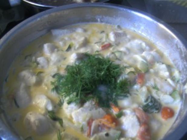 ( Fisch )  Fischpfanne mit einer Gemüse Sahne-Soße - Rezept - Bild Nr. 10