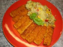 Fischstäbchen mit bunten Kartoffeln - Rezept
