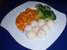 Garnelen in Meerrettich-Ketchupsoße mit Broccoli und Basmatireis - Rezept