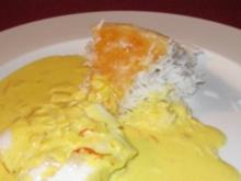 Fisch in Safran-Sahne-Soße und iranischem Knusperreis - Rezept