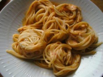 Garnelen in Weißwein -Soße an Spaghetti - Rezept