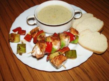 Rezept: Lachs Spieß mit Gurken - Sahne Suppe