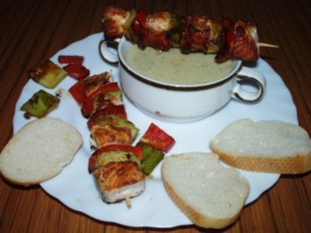 Lachs Spieß mit Gurken - Sahne Suppe - Rezept - Bild Nr. 2