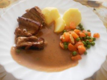 geschmorte Schweinerippchen ~ Mischgemüse - Rezept