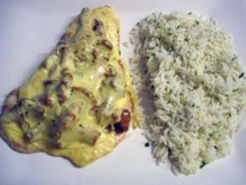 Pfifferlingschnitzel mt Kräuter-Butter-Reis - Rezept