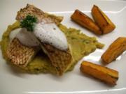 Red Snapper auf Dhal mit Kokoswölkchen und Süßkartoffel-Wedges - Rezept