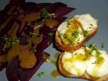 Rote Bete Carpaccio mit Ziegenkäse-Crostini - Rezept