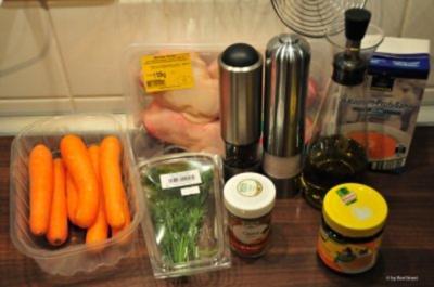 Hähnchenschenkel / Hähnchenkeulen in Currysauce gebacken - Rezept