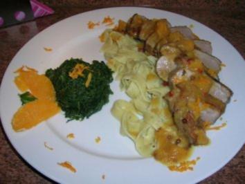 Entenbrustfilet mit Orangen-Ingwer-Sauce und Zitronen-Basilikum-Nudeln - Rezept