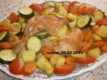 Hähnchenkeulen vom Blech mit Gemüse - Rezept