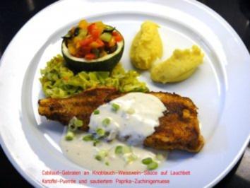 Cabillaud gebraten an Knoblauch-Weissweinsauce Kartoffelpurrée und sautiertem Gemuese - Rezept