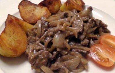 Beefsteak- Zwiebel-Pfännchen - Rezept