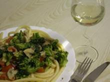 Nudeln mit Gemüse-Pilzrahm-Pfanne - Rezept