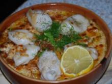 Tintenfischtuben auf gratiniertem Fenchelbett - Rezept