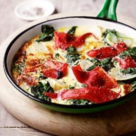 Bauernomelette mit Paprika und Spinat - Rezept