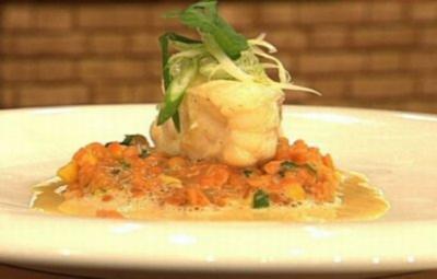Gedünsteter Seeteufel mit Currylinsen à la Zacherl - Rezept