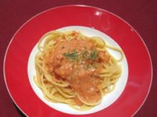 Spaghetti mit Felshummer in leichter Chili-Knoblauch Sahnesoße - Rezept