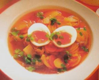 Rezept: Suppe/Klar - Klare Kartoffelsuppe mit wachsweichem Ei