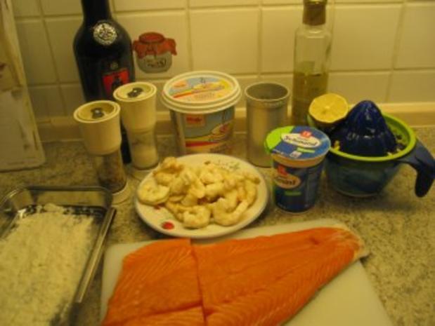 Fisch + Meeresfrüchte: Eismeer-Lachsforelle mit Krabben in Sherry-Sahne-Soße - Rezept
