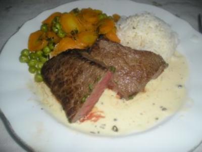 Rinderhüftsteak (Hüferlsteak) mit grüner Pfeffer-Sauce - Rezept