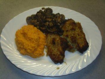 Fleischgerichte: Lammkoteletts mit Senfkruste, Süsskartoffelpüree und Champignons - Rezept