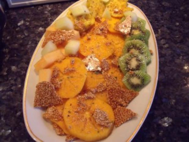 Kaki mit Sesamkrokant - Rezept