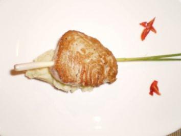 Angelthunfisch am Zitronengrasspieß mit Süßkartoffel- Wasabi- Stampf - Rezept