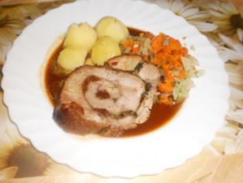 Schweinrollbraten ~ Möhren-Kohlrabi-Gemüse - Rezept